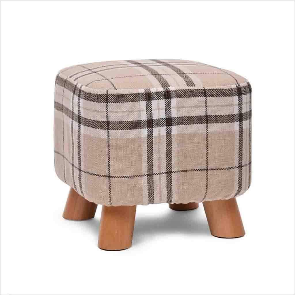 HOMRanger Footstools Ottoman Solid Wood Sofa Stool Cloth Monochrome Matcha Stripe Lattice 25CM High Stools (Color : 4)