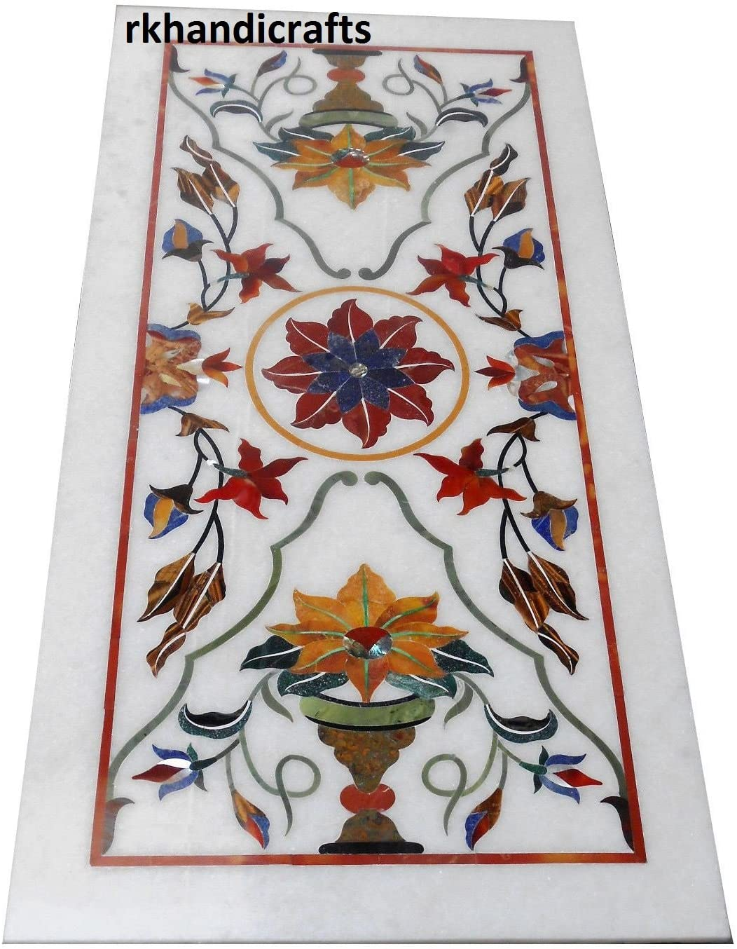 White Dining Table Top Sofa Table Inlay Work with Semi Precious Multi Colors Stones Royal Home Interior 30 x 60 Inches