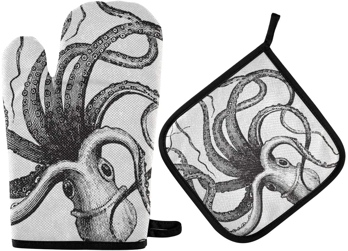 DOMIKING Oven Mitts Pot Holder Sets - Common Octopus Oven Gloves Heat Resistant Hot Pads Non-Slip Potholders for Kitchen Cooking BBQ
