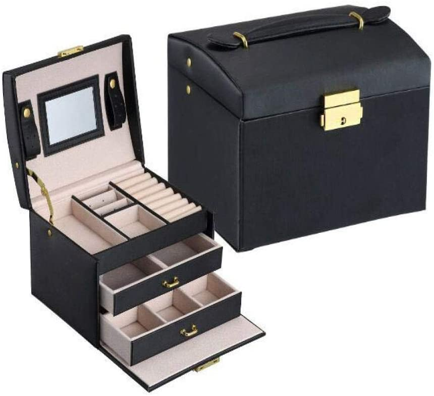 DFGHJK Three Layers Classical Leather Jewelry Box Jewelry Exquisite Makeup Case Jewelry Organizer Fashion Gift Box Black