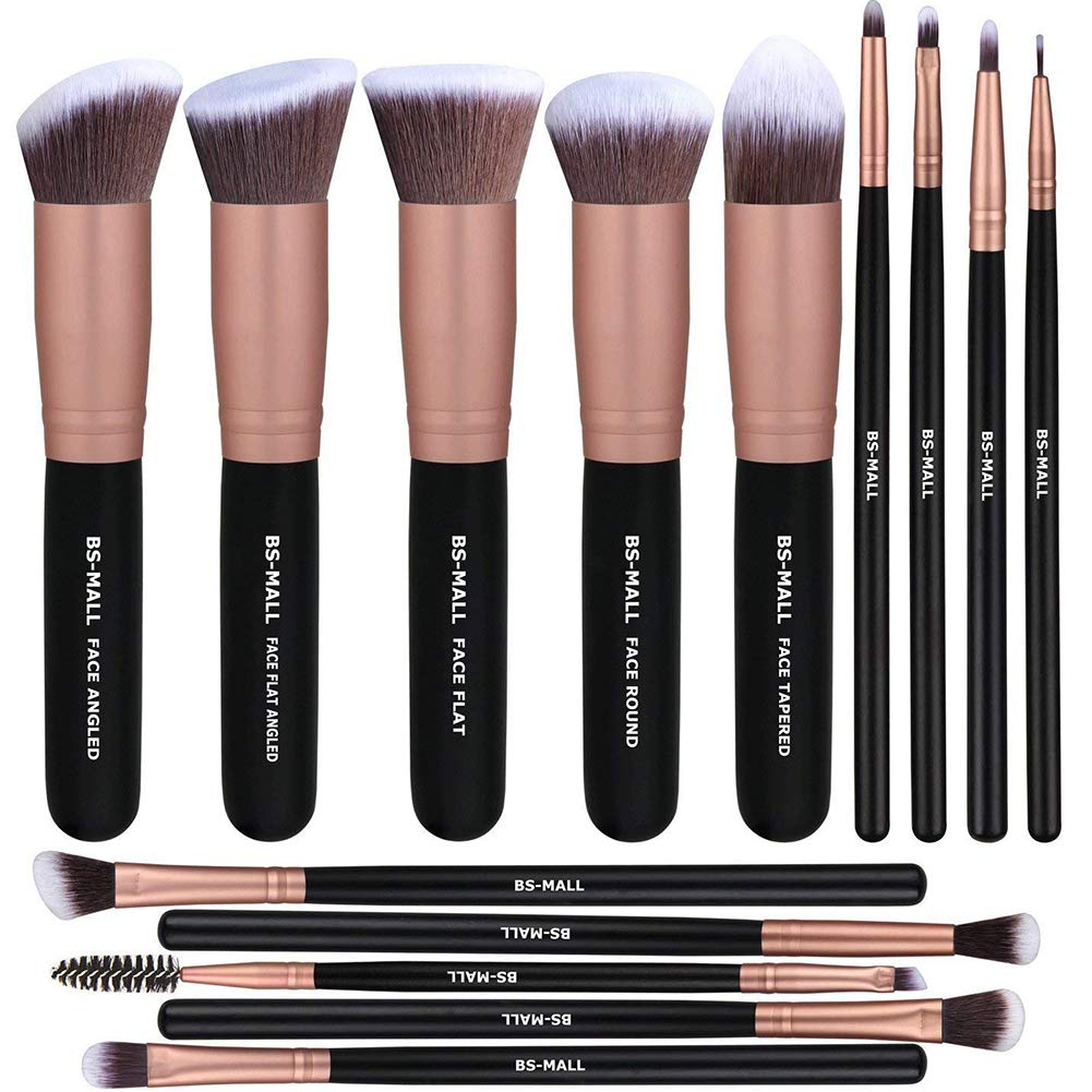 Make Up Brushes 14PCS Makeup Brushes Set Synthetic Kabuki Makeup Brush Cosmetics Foundation Blending Blush Eyeliner Face Powder Brush Makeup Brush Kit(Black&Gold)