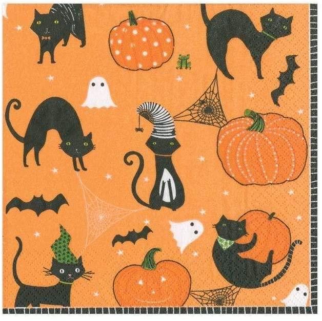Caspari Scaredy Cats Paper Cocktail Napkins in Orange - 20 Per Package