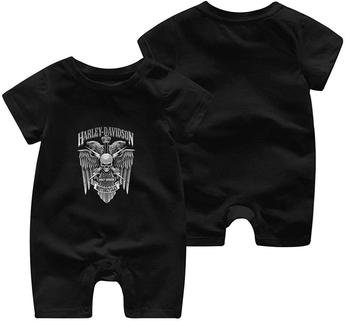 Harley Davidson One Piece Outfits Baby Solid Color Rompers with Button Kids Short Sleeve Playsuit Jumpsuits Cotton Clothing 0-3 Months Black