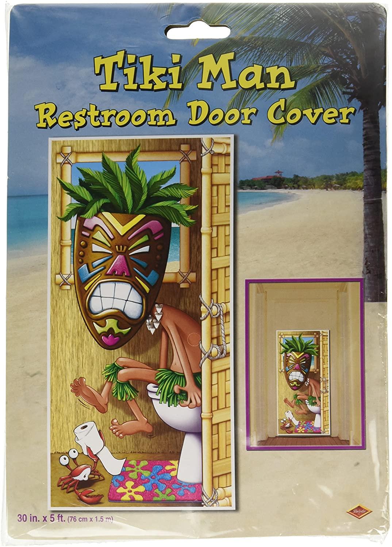Tiki Man Restroom Door Cover Party Accessory (1 count) (1/Pkg)