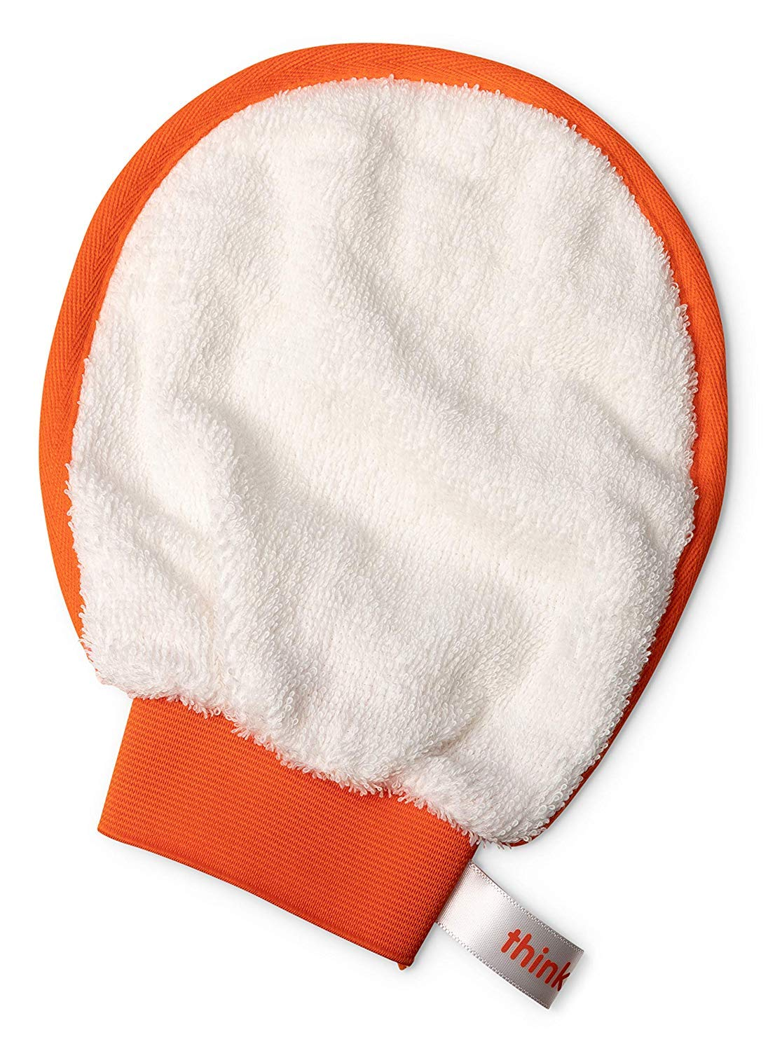 Thinkbaby Organic Cotton Mitt Luffa for Baby, Kids, Adults   for Bath, Showers, Fits Over Hand, Use On Body   Soft Fibers, Eco-Friendly, Machine Washable, Orange