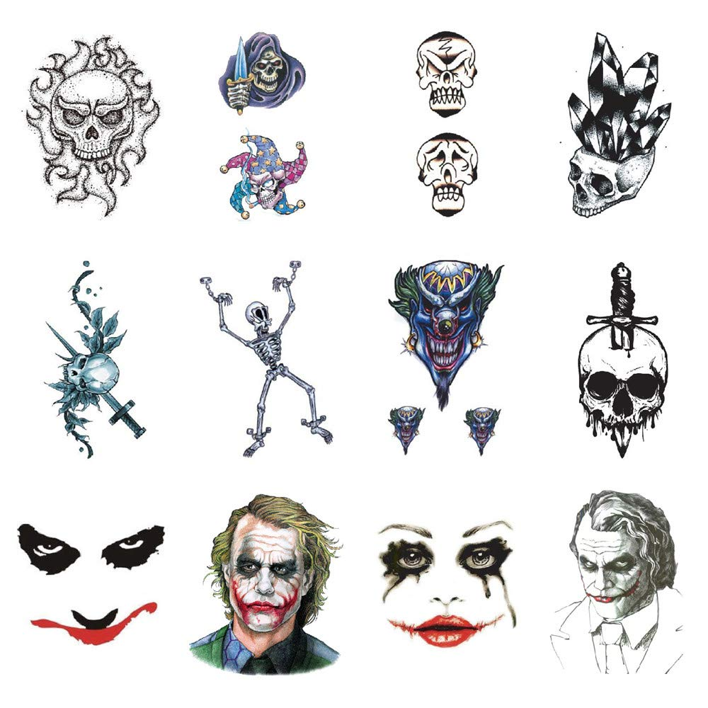 SanerLian Skull Joker Temporary Tattoo Sticker Waterproof Bloody Adult Men Women Hand Arm Shoulder Back Makeup 10.5X6cm Set of 12