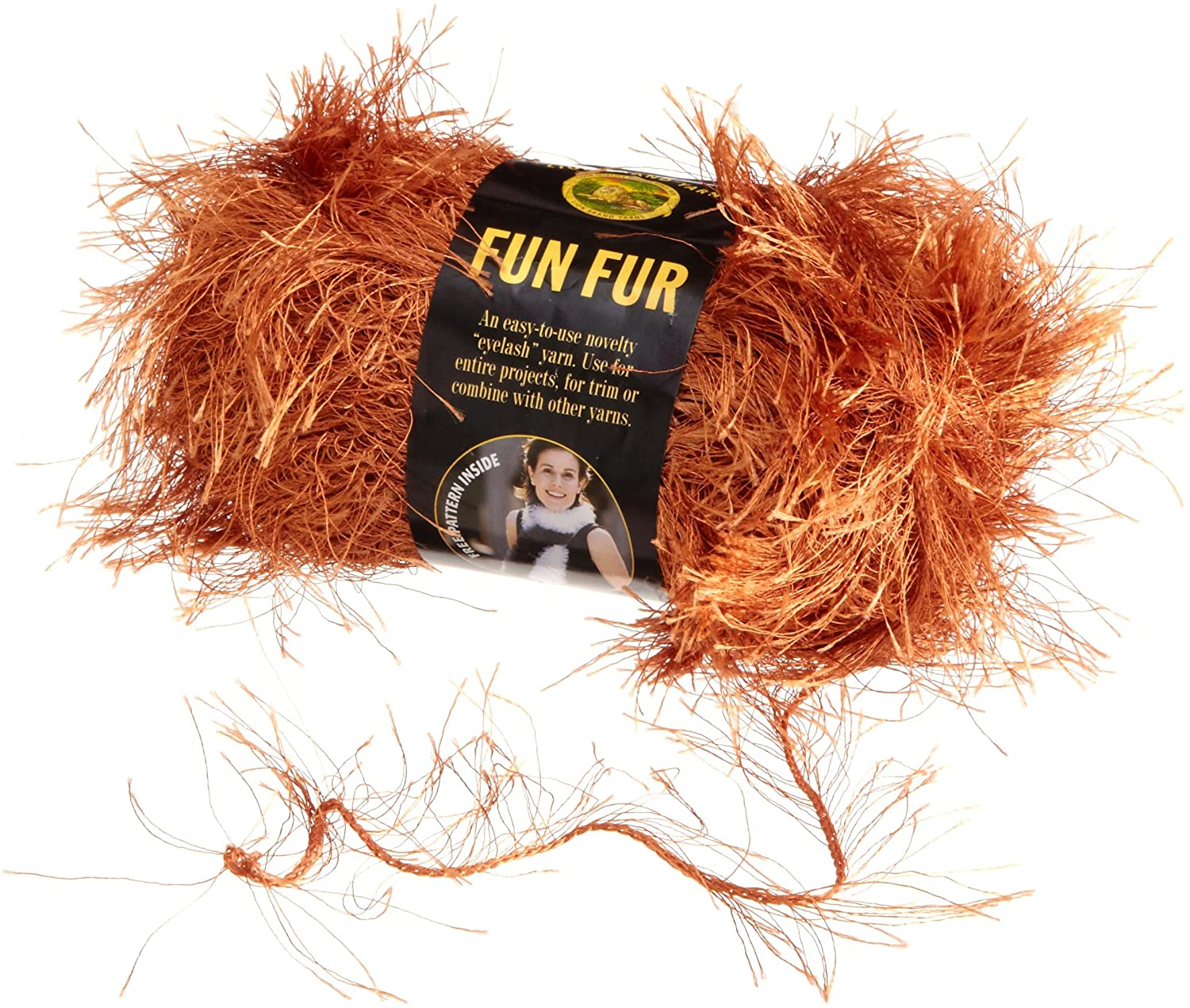 Lion Brand Yarn 320-134 Fun Fur Yarn, Copper
