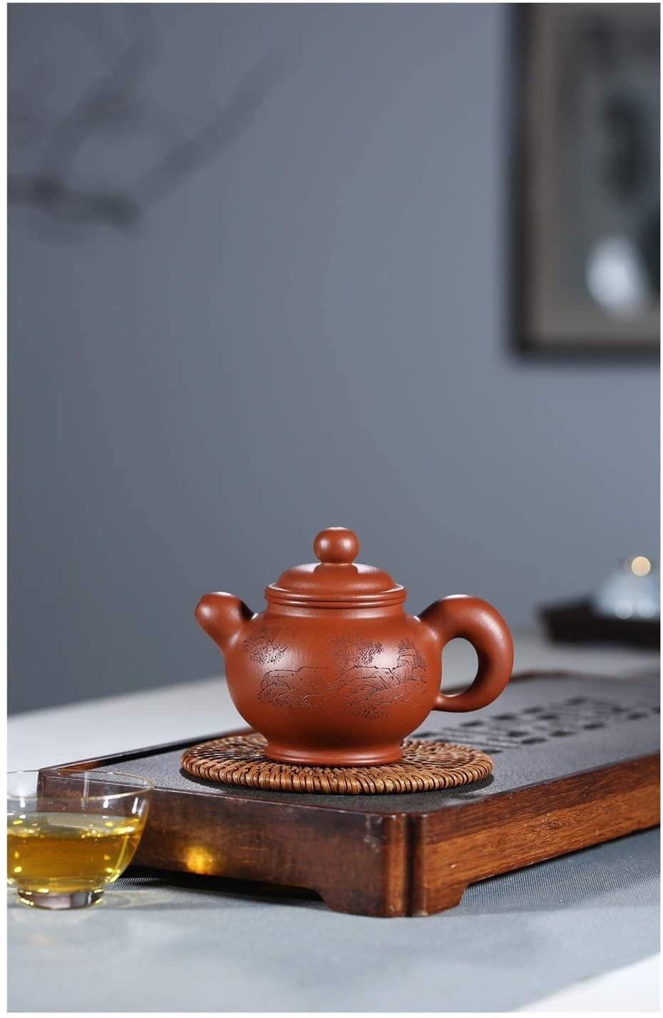 QinMei Zhou Industrial and double hand-famous teapot portray the inner wall of the pot only drop-lettering (Size : 260cc)
