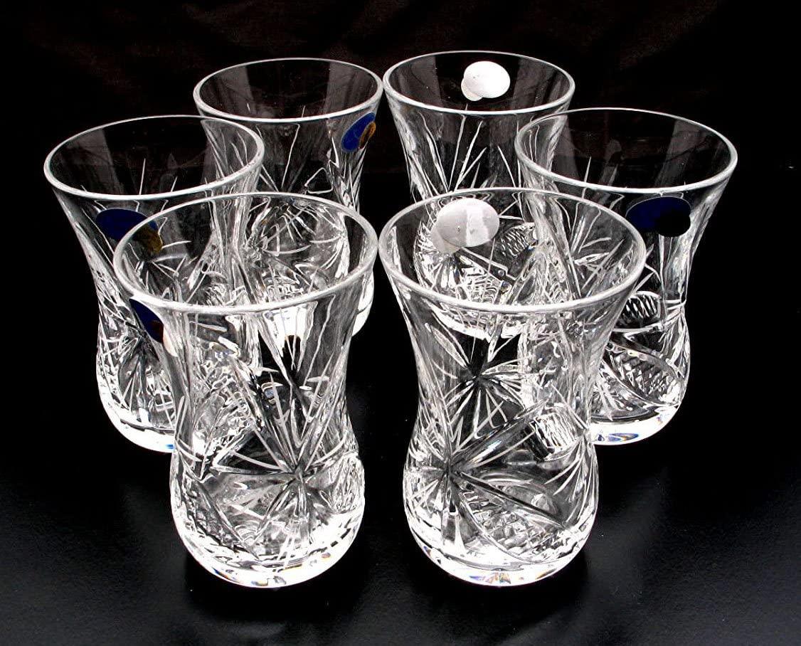 Set of 6 Crystal Turkish Tea Glasses Russian Cut Crystal