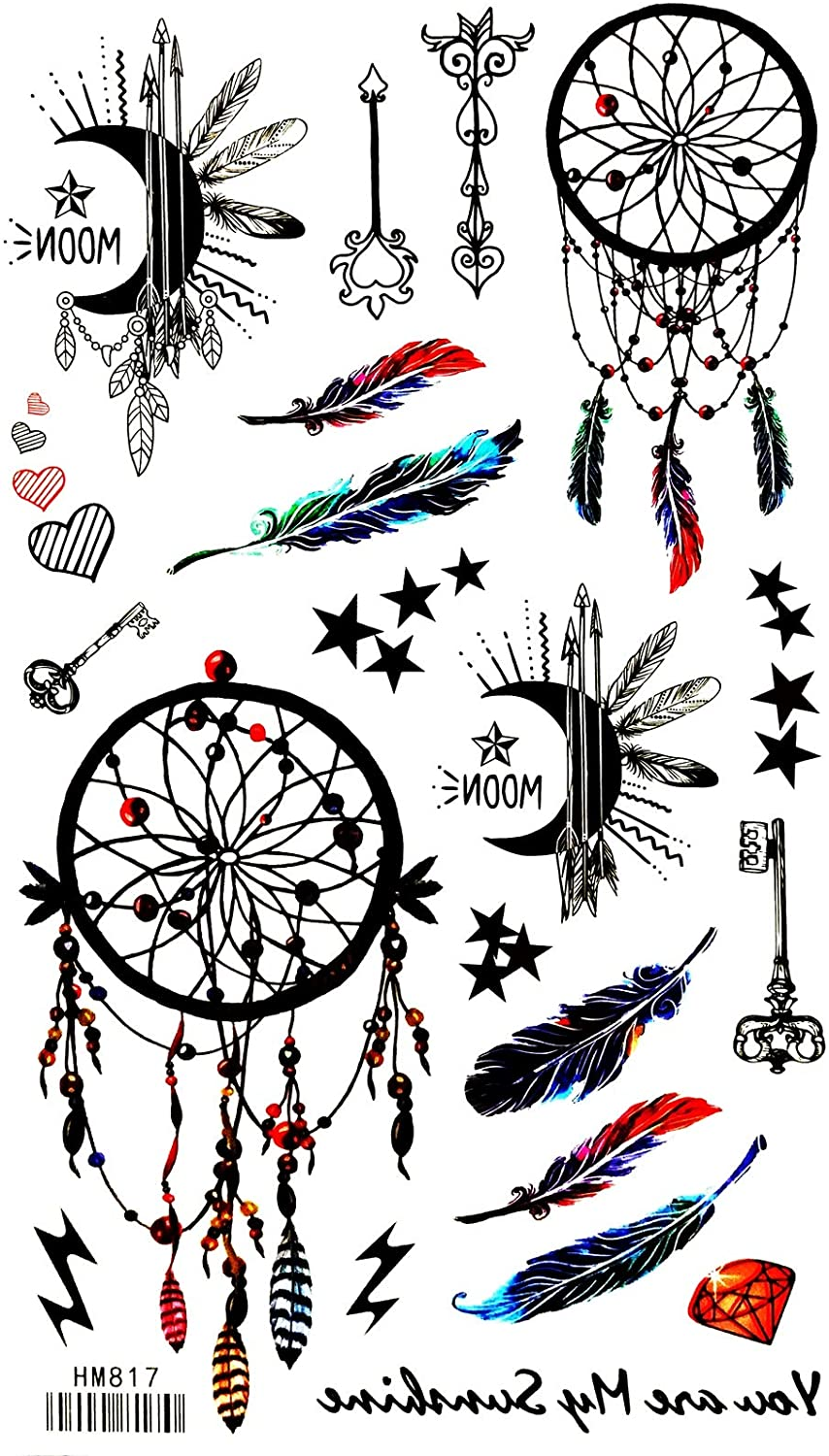 Indian Feather Cute Fantasy Cartoon 4X8 in MEGADEE Tattoo Sticker Body Arm Leg Body Art Beauty Makeup Cool Removable Waterproof Tattoo Sticker Great as Happy Gift (Tattoo Sticker 127)
