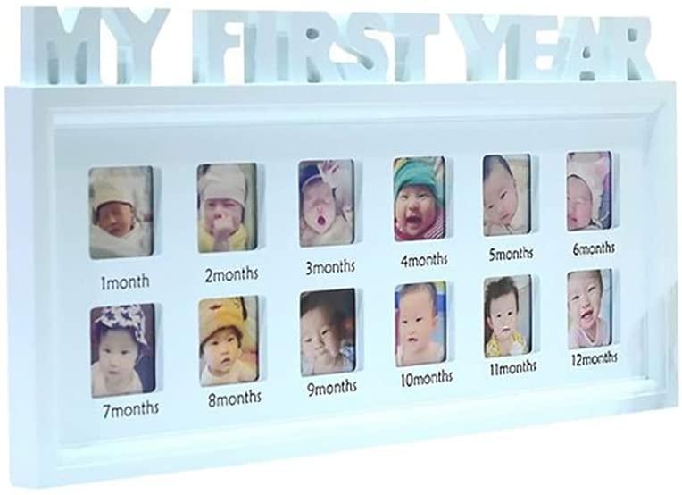 Jiecikou Newborn Baby Photo Frame My First Year 0-12 Month Baby 1st Birthday Photo Display Blue