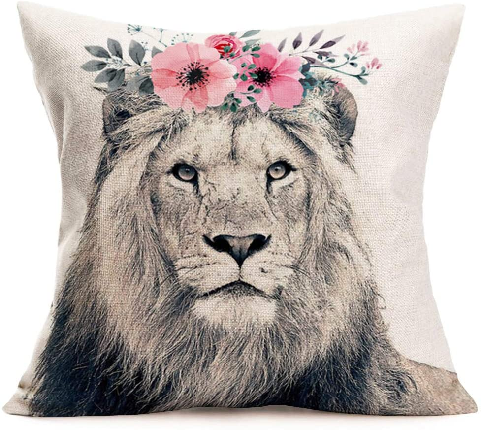 Asamour Lion Throw Pillow Covers Adorable Animal with Beautiful Flower Wreath Cotton Linen Farmhouse Decorative Cushion Cover 18''x18'' Square Accent Pillow Cases for Sofa Couch (Lion)