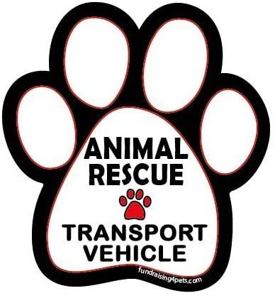 Animal Rescue Transport Vehicle paw magnet - white/black