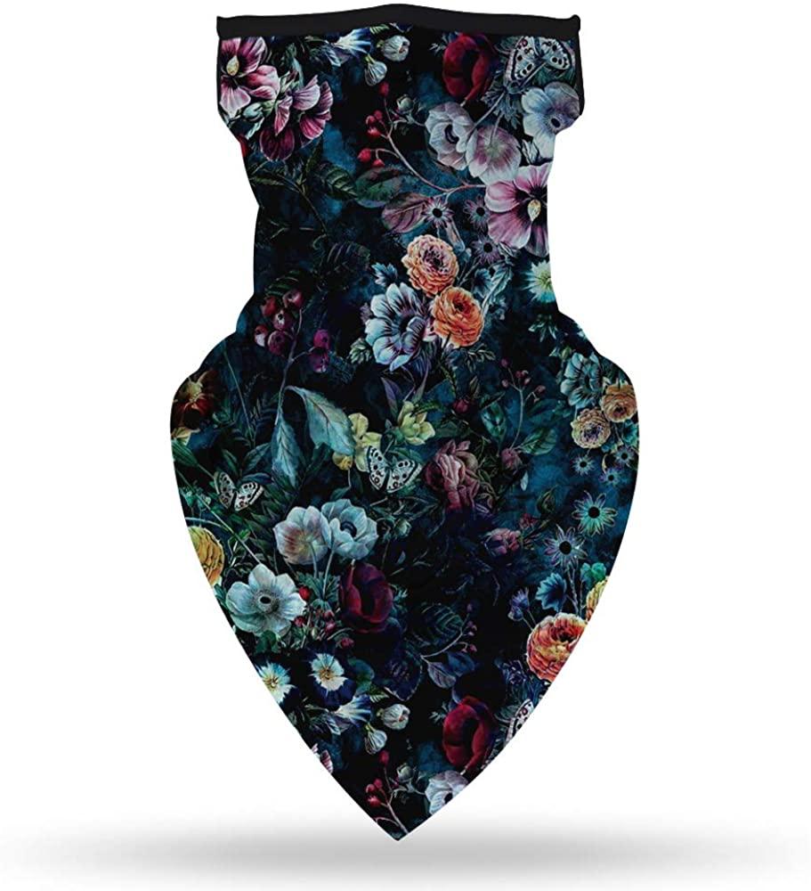 GLUDEAR Floral Print Face Scarf Bandana Ear Loops Face Mask Balaclava Neck Gaiter Outdoors