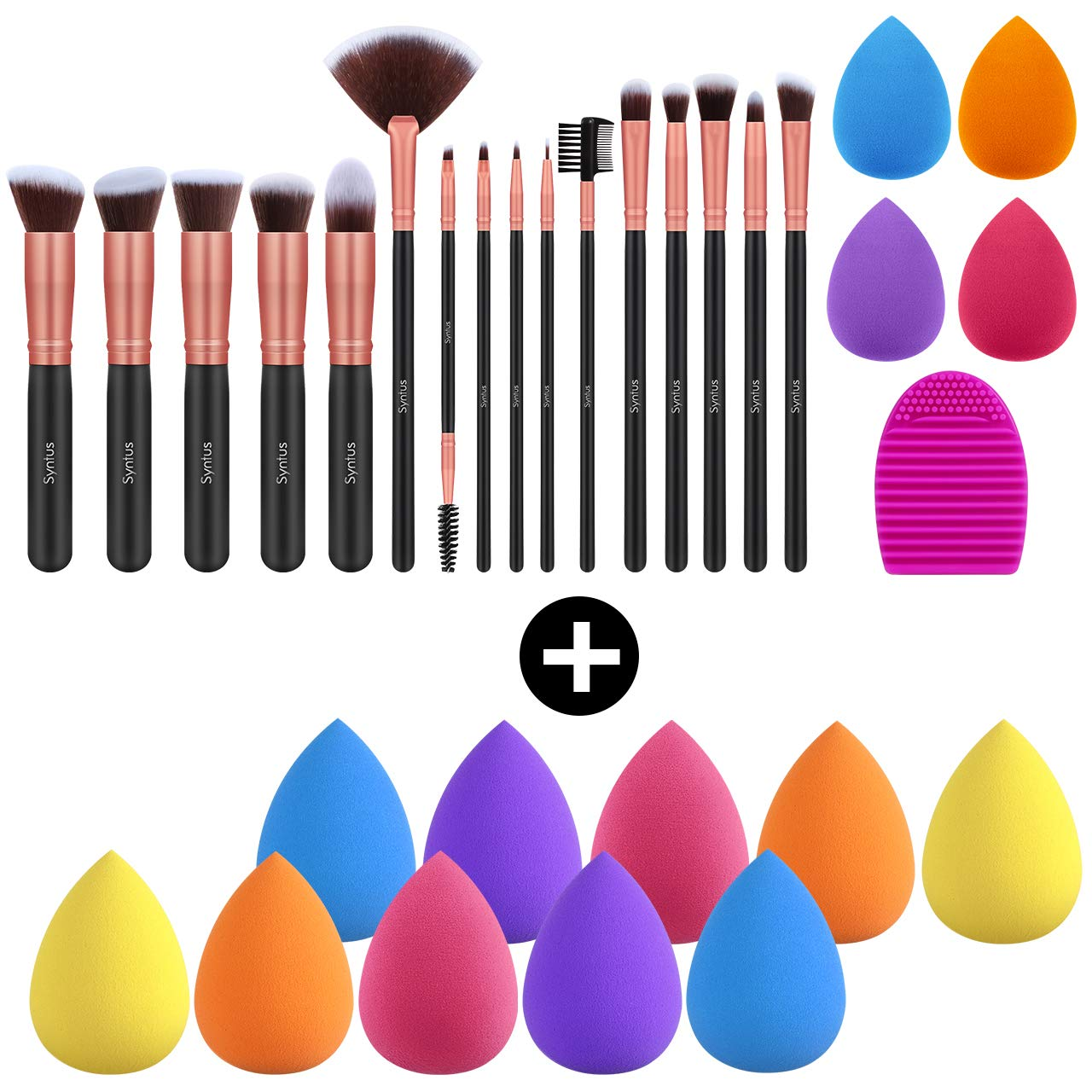 Syntus 16 Pcs Makeup Brush Set & 10 Pcs Makeup Sponge Set