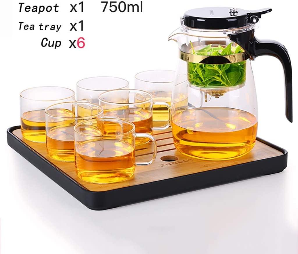Tea set Glass teapot Kung Fu Tea Set Household kettle set High temperature heat resistance Filter tea maker High capacity 550/650/750ml (Color : D)