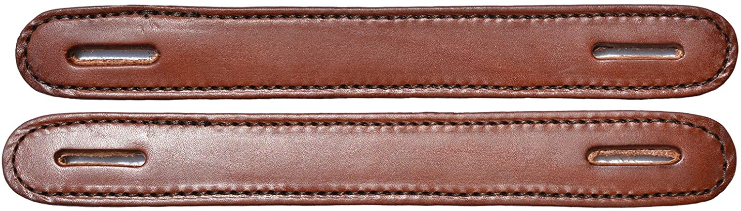 Pair of Brown Leather Double & Stitched Slotted Steamer Trunk Handles 100BR
