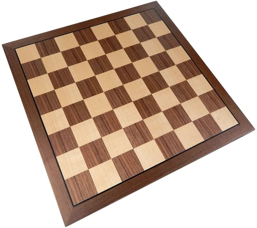 Kratos Chess Board with Inlaid Walnut Wood, Large 15 x 15 Inch, Board Only