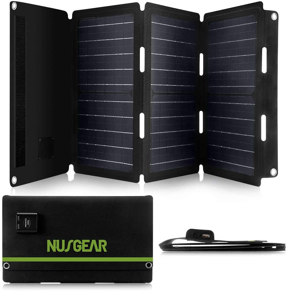 NusGear 30W Foldable Solar Panel Charger, 2 Output Ports Solar Charger, Water-Resistant Material Solar Panels for Portable Power Station Generator USB Devices QC3.0 USB Ports