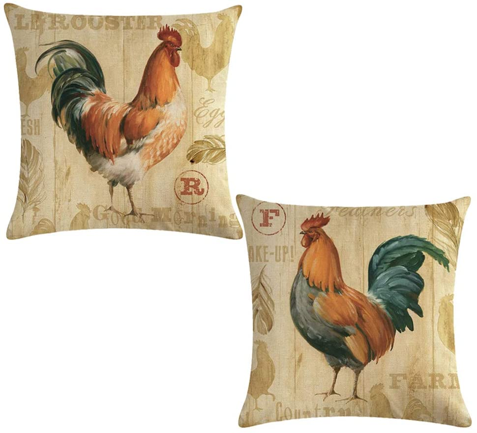 ULOVE LOVE YOURSELF Farmhouse Rooster Throw Pillow Covers Retro Vintage Style Farm Fresh Poultry Chicken Cushion Cover Home Decorative Cotton Linen Pillow Cases 18 x 18 inches,2Pack (Rooster)