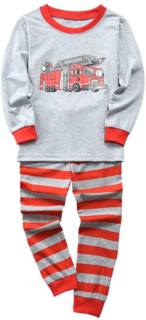 Little Kid and Toddler Boys Pajama Set, Long Sleeve Toddler Kids Sleepwear, Childrens Cotton Clothing Set (1-5Y)