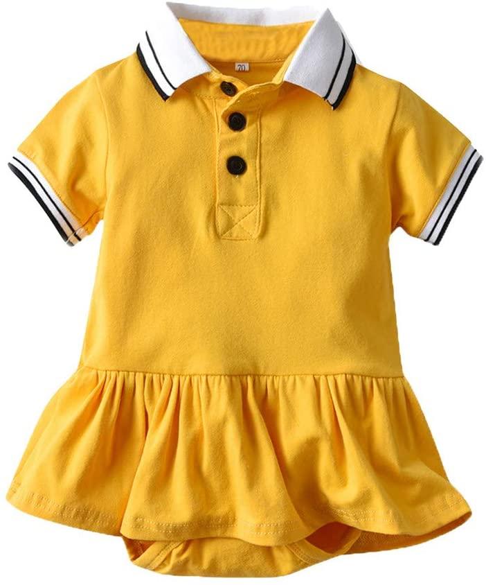 Clothful_Clothes Infant Baby Girls Short Sleeve Gentleman Solid Striped Romper Bodysuit Dress