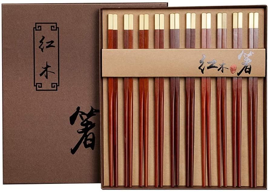 Zhengtufuzhuang Chopsticks - Mahogany Chopsticks, 10 Sets of high-end Gift Boxes, Polished Round, Long 25CM Feel Delicate