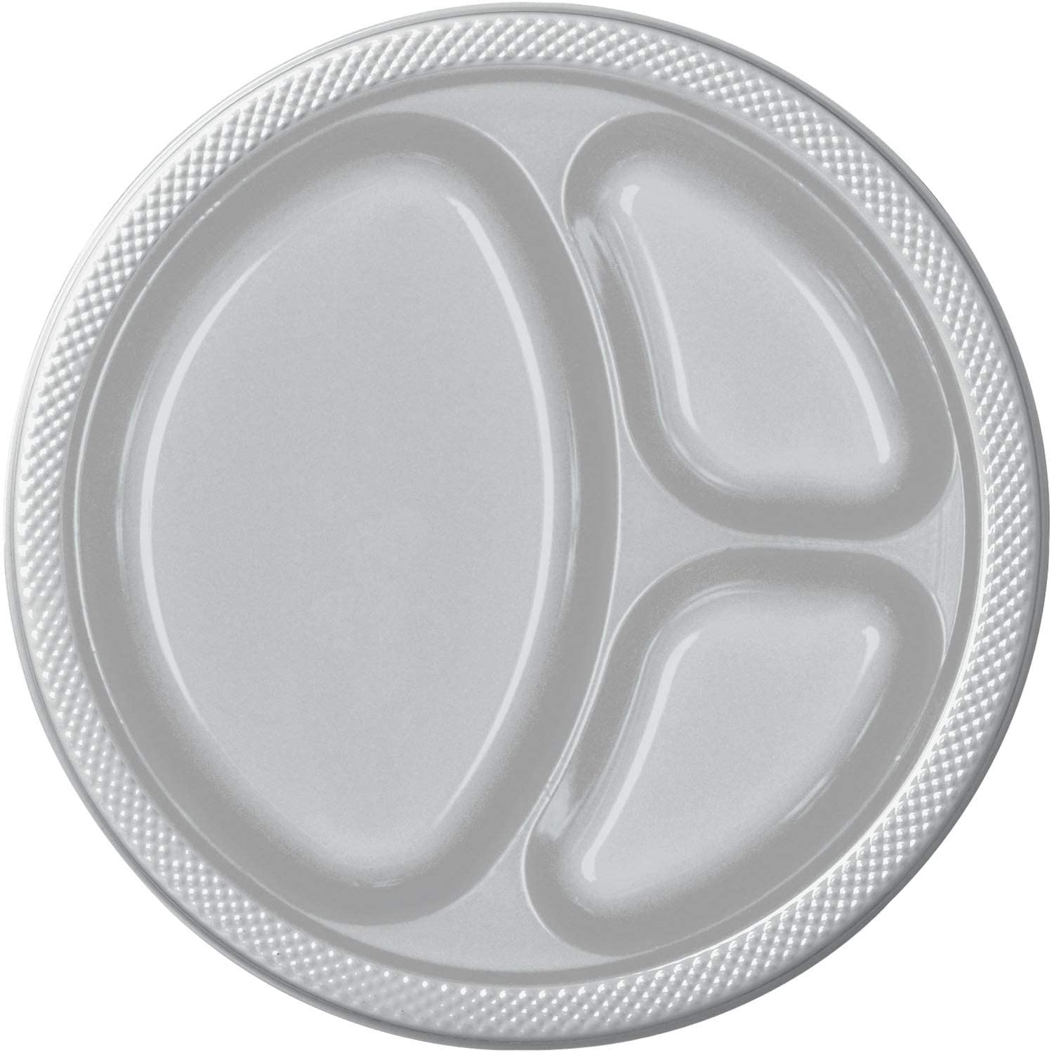 Amscan Silver Sparkle Divided Plastic Plates, 20 Ct. | Party Tableware