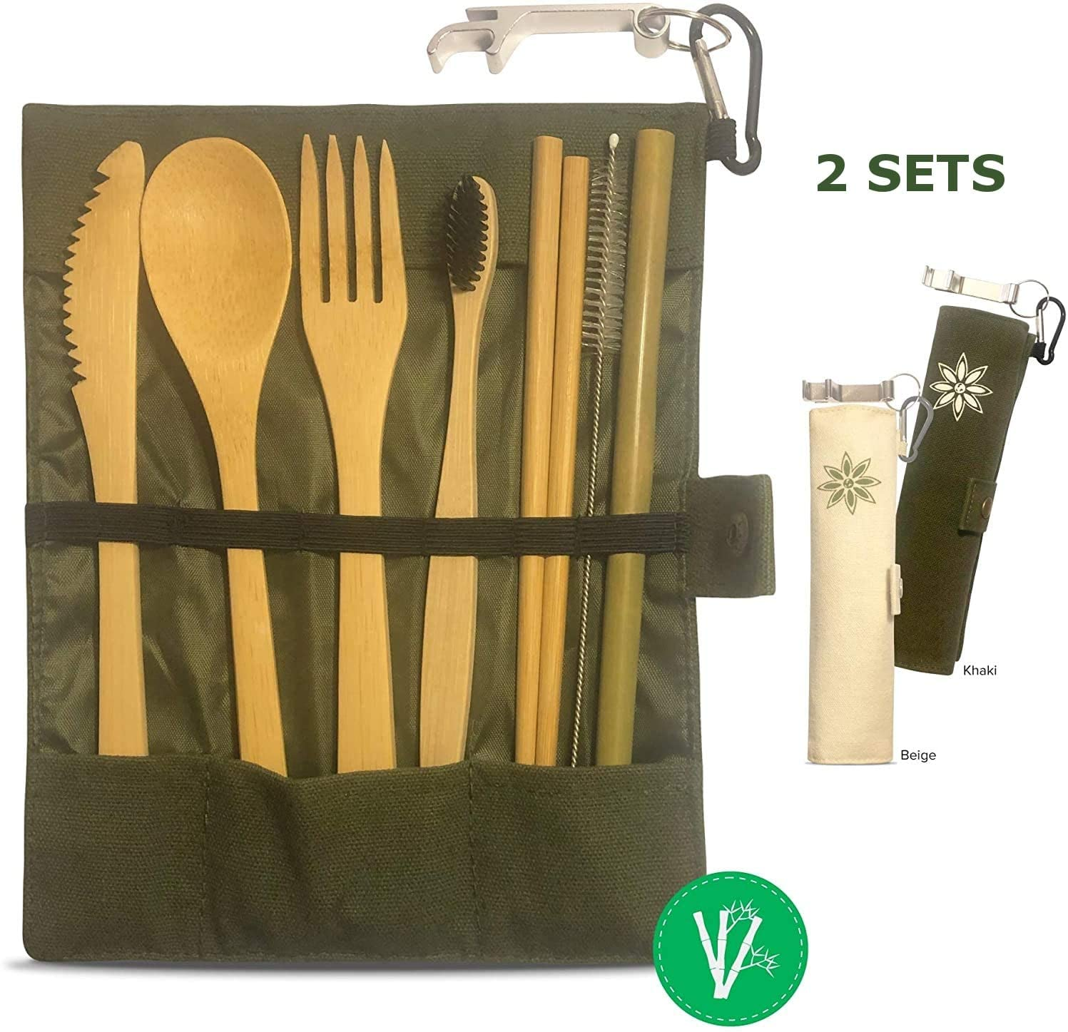 Reusable Bamboo Utensils 2 Sets with Cases - Travel Cutlery, To Go Where Bamboo Utensils, Silverware Eco Friendly, Fork Knife Spoon Straw Chopsticks Toothbrush
