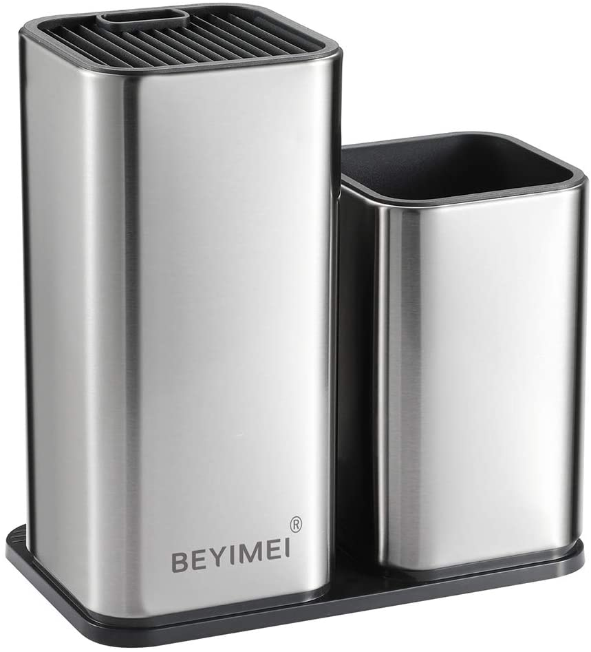 """BEYIMEI Universal Knife Block,Stainless Steel Knife Holder- Modern Rectangular Design with Scissors-Slot, Space Saver Knife Storage,Holds 12 8""""-Blade Knives,Silver Pack of 1"""
