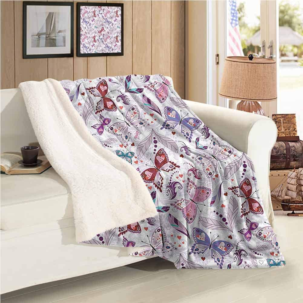 Fleece Blanket Baby Warm Blanket Colorful Flowers Hearts Warm Blanket Full Size Plush Microfiber, Suitable for Baby Bed W59 xL31