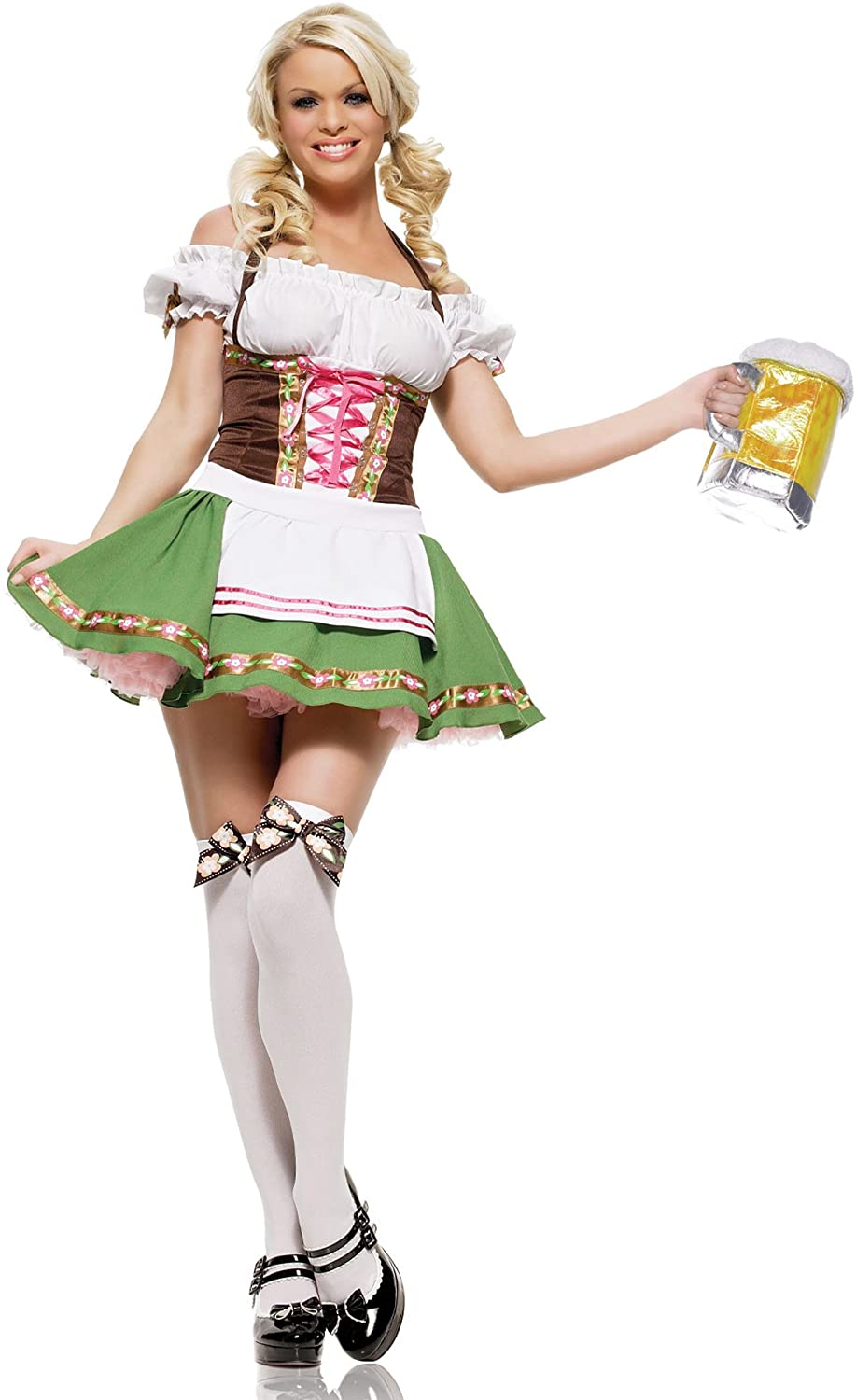 PINSE St. Patrick's Day Oktoberfest Cute Beer Girl Servant Maid Costume (XL)