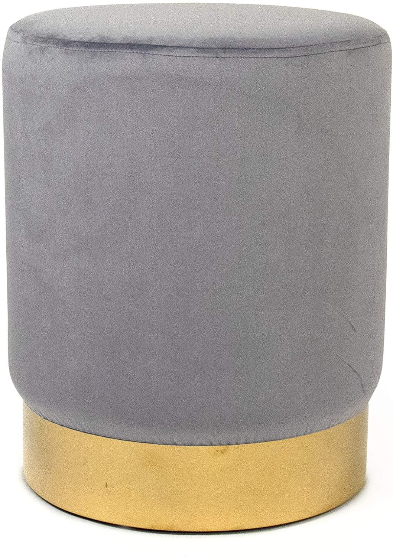 Zentique Pale Blue Velvet Gold Base Vanity Stool