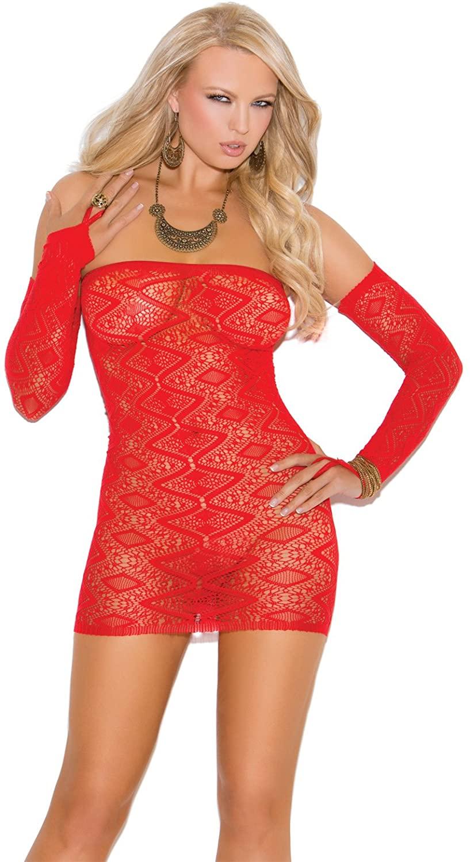 Diamond Pattern Bandeau Dress w/Matching Gloves Red O/S