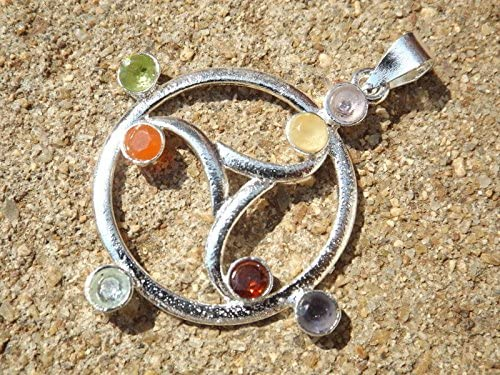 Silver Plated Triskelion Design 7 Faceted Crystal Chakra Healing Pendant