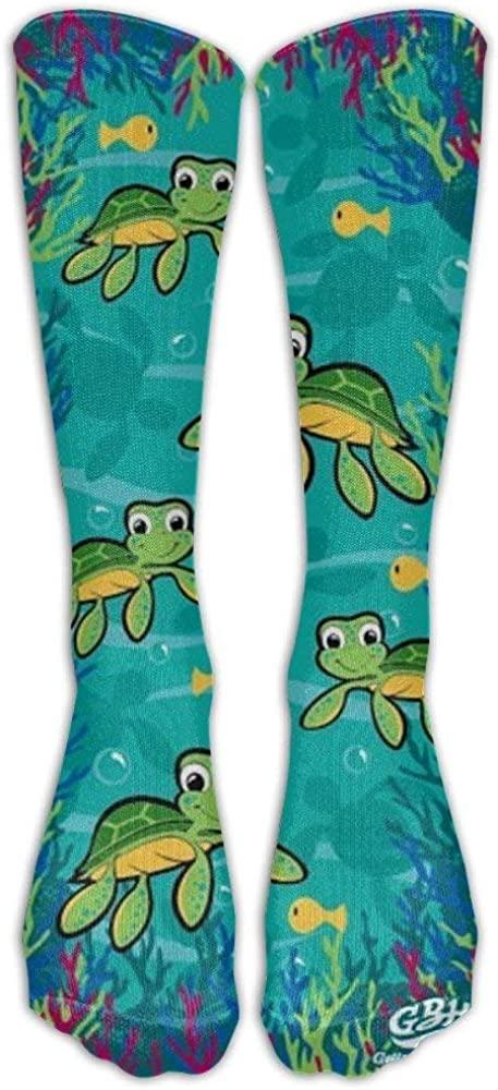 Hawaiian Baby Turtle Knee High Graduated Compression Socks for Women and Men - Best Medical, Nursing, Travel & Flight Socks - Running & Fitness