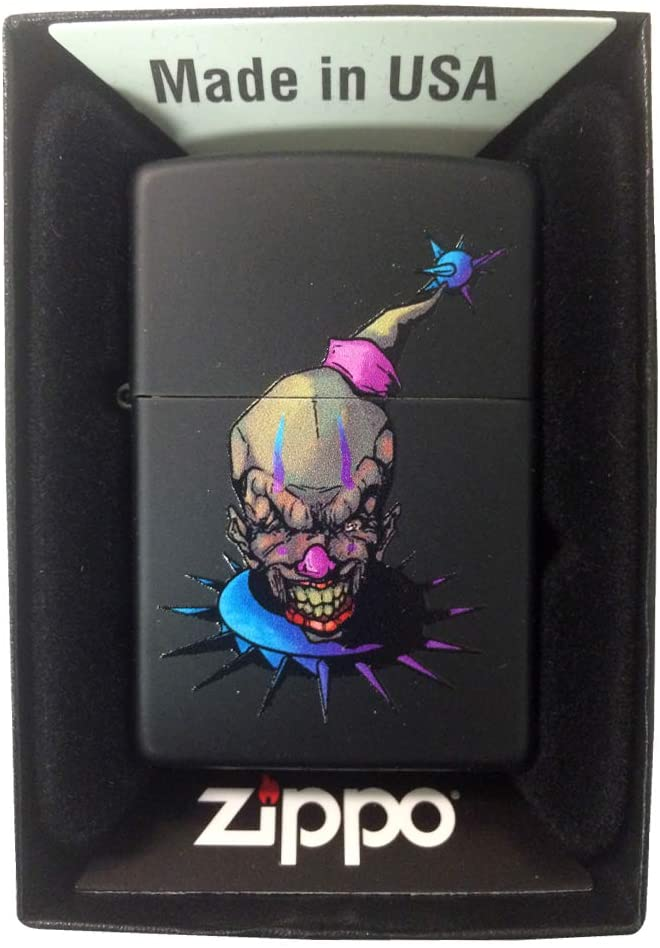 Zippo Custom Lighter - Black Matte Sneering Evil Clown Spiked with Purple and Blue Make Up