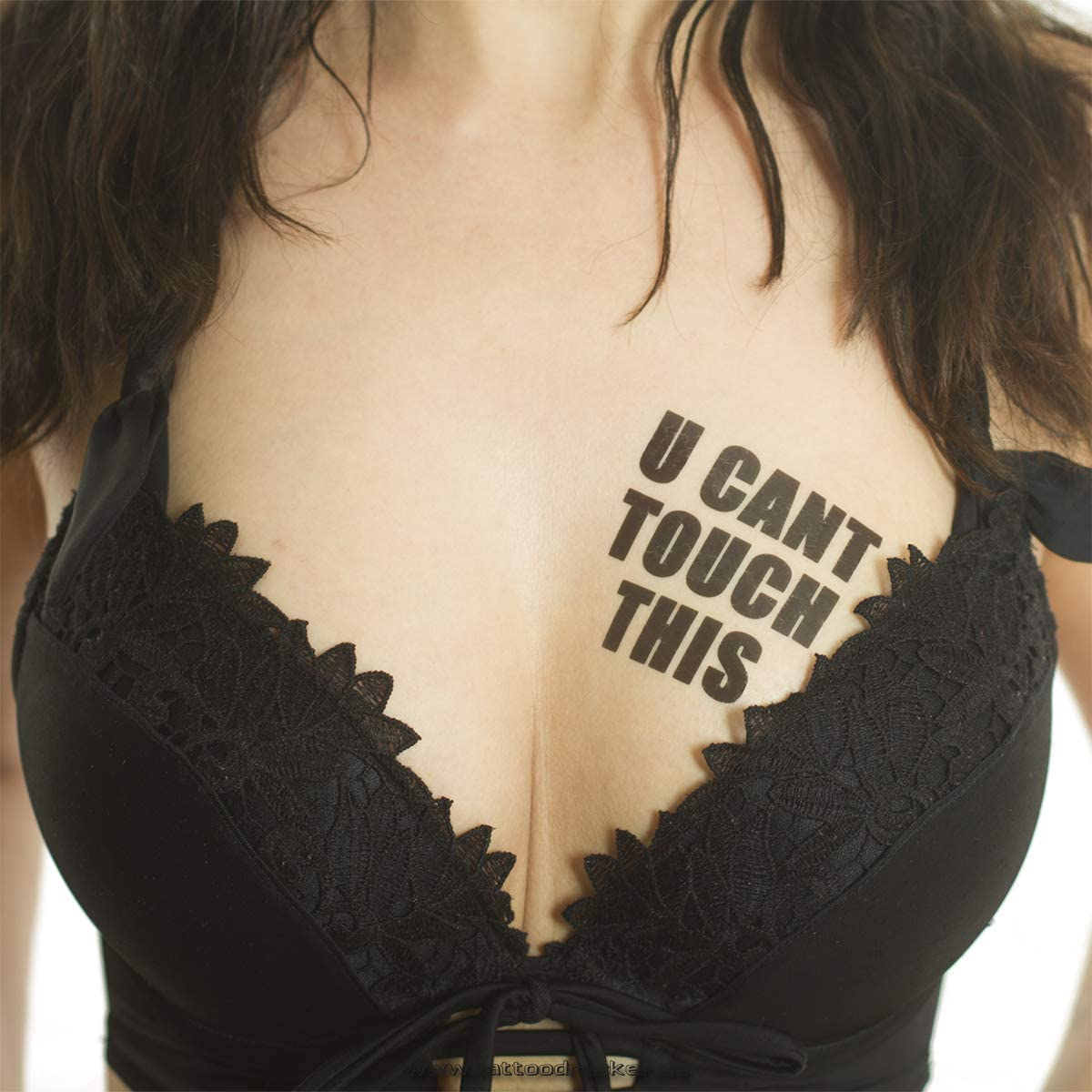 2 x U Cant Touch This Tattoo - Lettering in Black - Temporary Skin Tattoo (2)