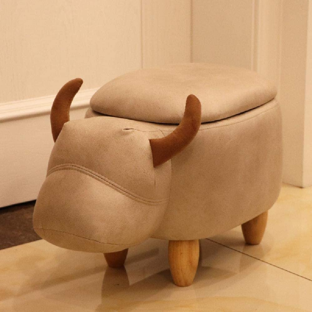 DBWIN Animal Ottoman Children's Footstools for Adults Bedroom Cushion Kids Toy Storage Stool Nordic Style Chair Bench,Brown