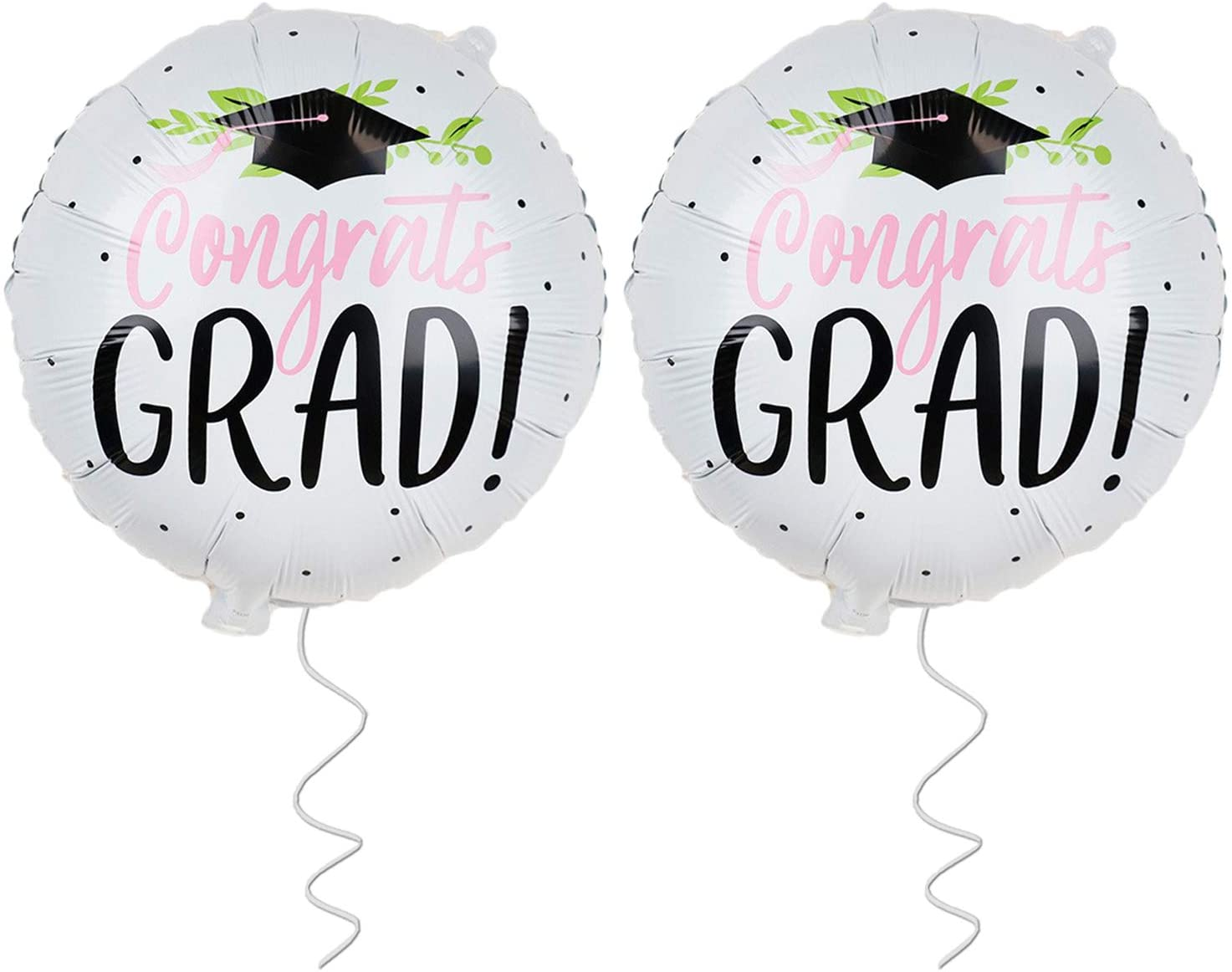 Graduation Balloons for Graduation Party Supplies 2020 - Pack of 2 | Congrats Grad Balloon with Graduation Cap - Congratulations Graduation Balloon for Seniors, High School, College, Pink and Black