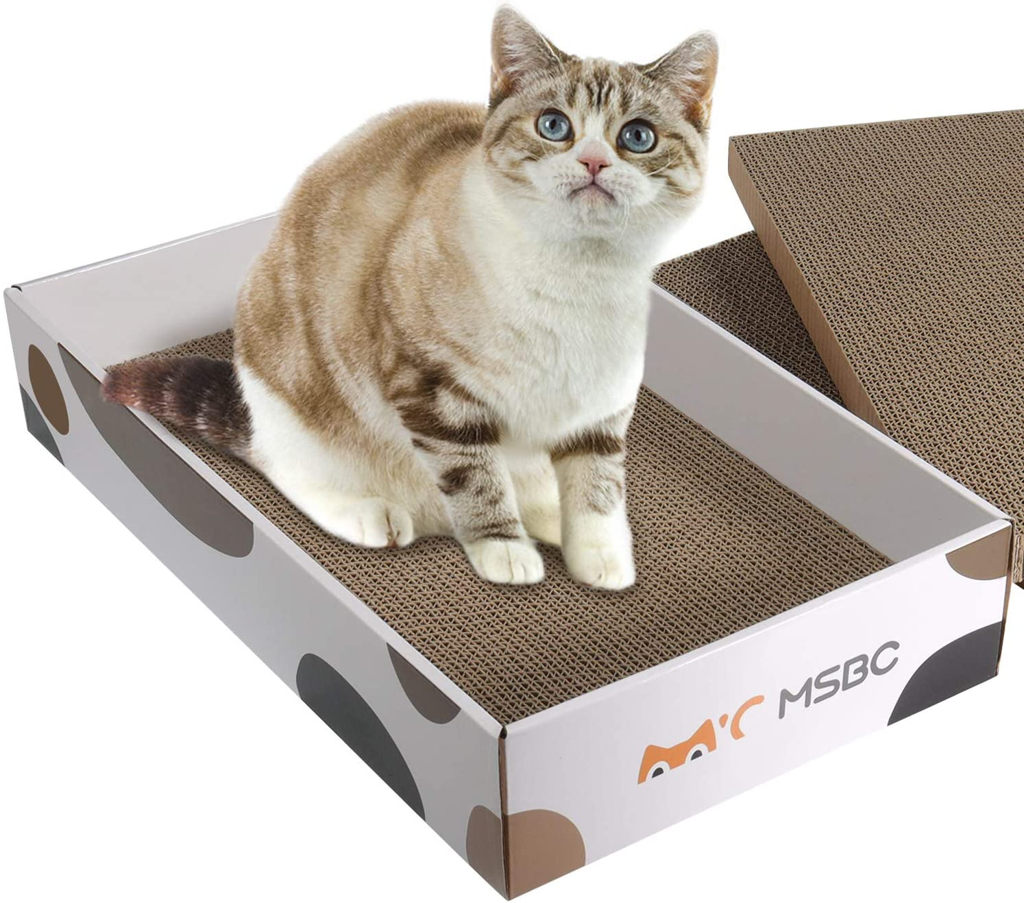 ComSaf Durable Cat Scratcher Cardboard Refill, Cat Scratch Pad, 3 in 1 Recyclable Corrugated Scratcher, Reversible Scratch Box, Scratcher Lounge for Furniture Protection, Cat Training Toy