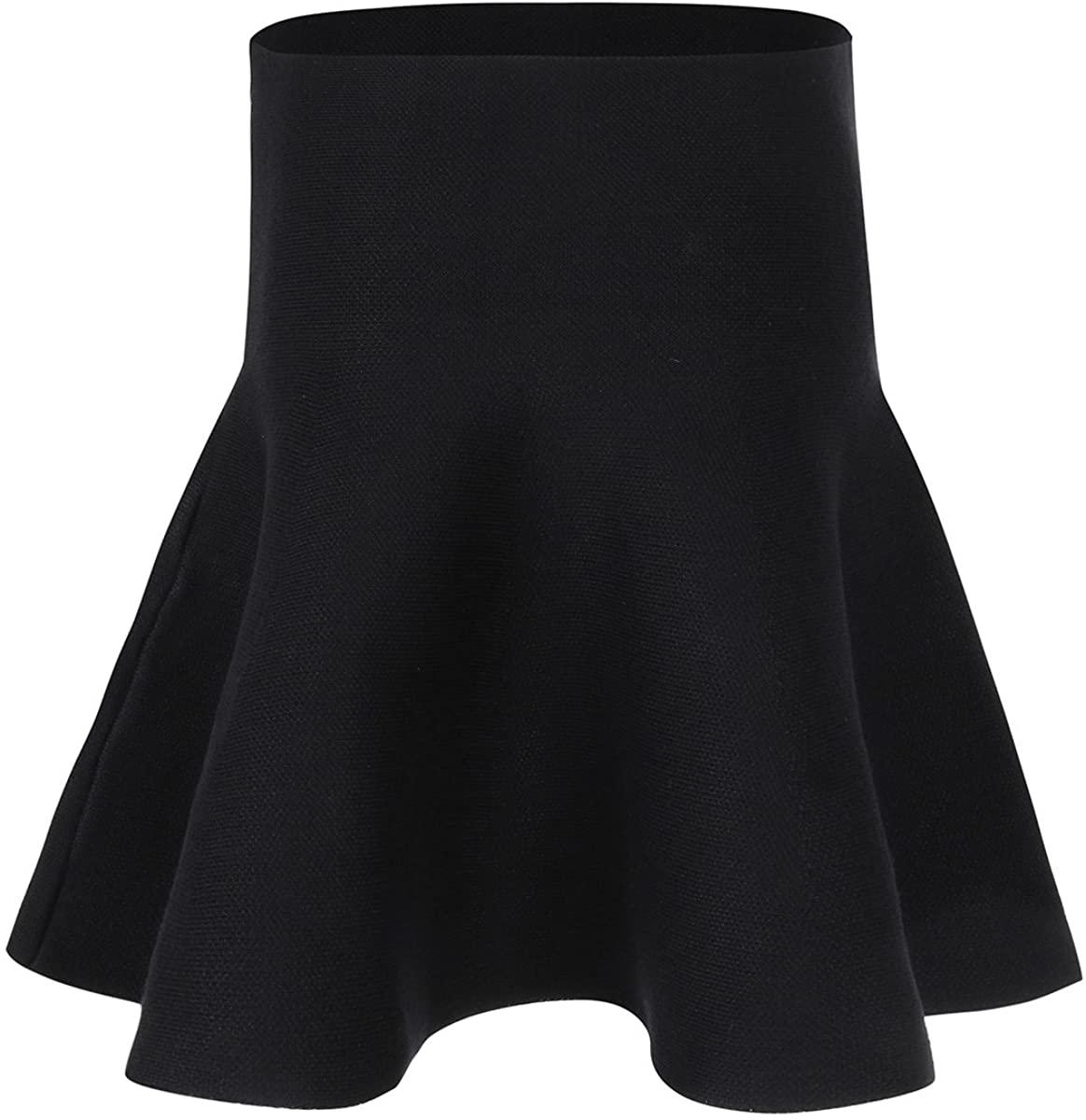 iiniim Kid Girls Knitted Flared Plaid Skater Tartan Skirt High Waist A Line Pleated Summer School Uniform Mini Daily Skirt Black 4-5