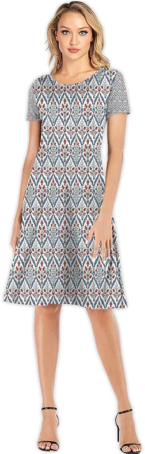 Vector Colorful in Flat Linear Style and Blue Colors,Women's Floral Maxi Dress for Beach S