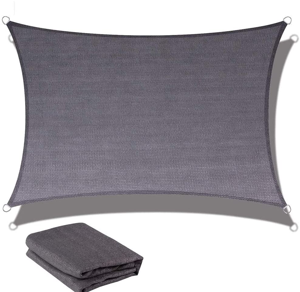 WLKQ Sun Shade Sail Canopy - Shade Cloth - Sunshade Fabric - Sun Shade Sail Rectangle HDPE Breathable UV Block for Garden Outdoor Patio - Anthracite