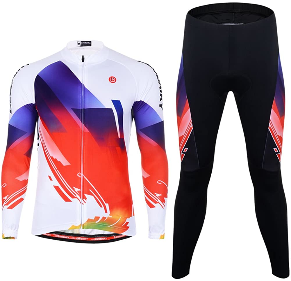 ELEPHANT DANCING Men's Cycling Jersey Creative Cycling Shirt with 3D Silicone Padded Cycling Pants, White-Phantom