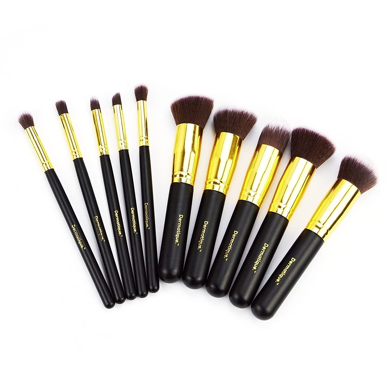 Dermatique Makeup Brushes, 10pcs Professional Makeup Brush Set, Premium Synthetic Kabuki Foundation Face Powder Blush Eyeshadow Brushes Makeup Brush Kit (Gold)