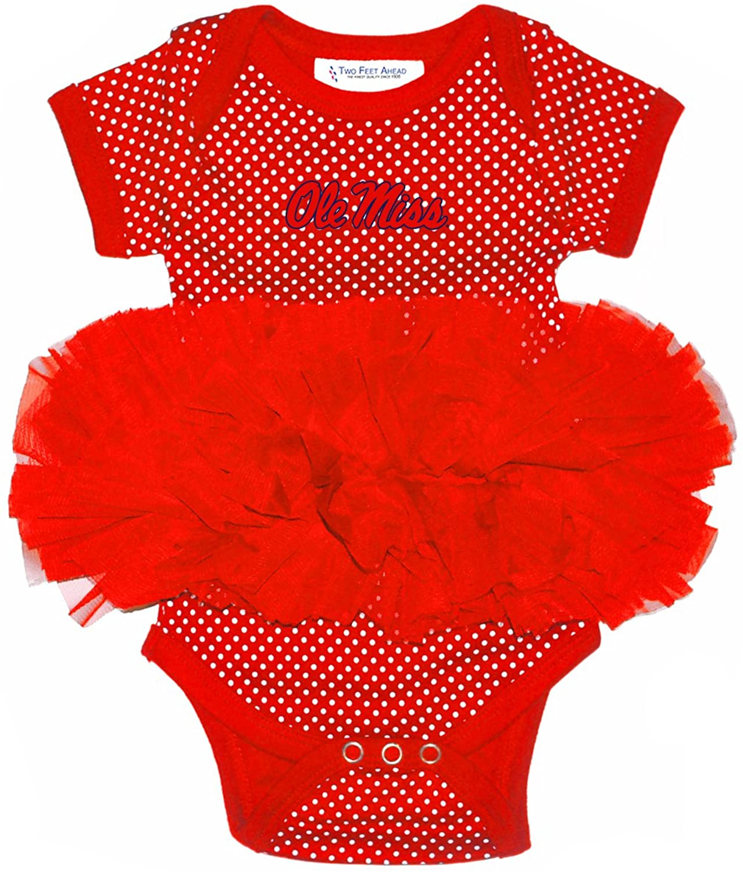 Two Feet Ahead NCAA Mississippi Old Miss Rebels Children Girls Pin Dot Tutu Creeper,6 mo,Red