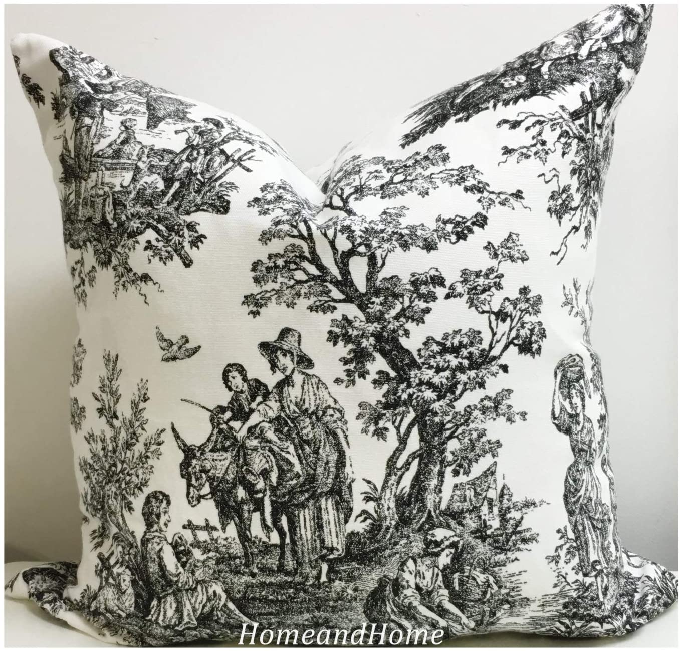 Zipper Pillow Cover Colonial Toile Black White Accent Pillow Cover Decorative Euro Shams Lumbar Decorative Throw Pillow