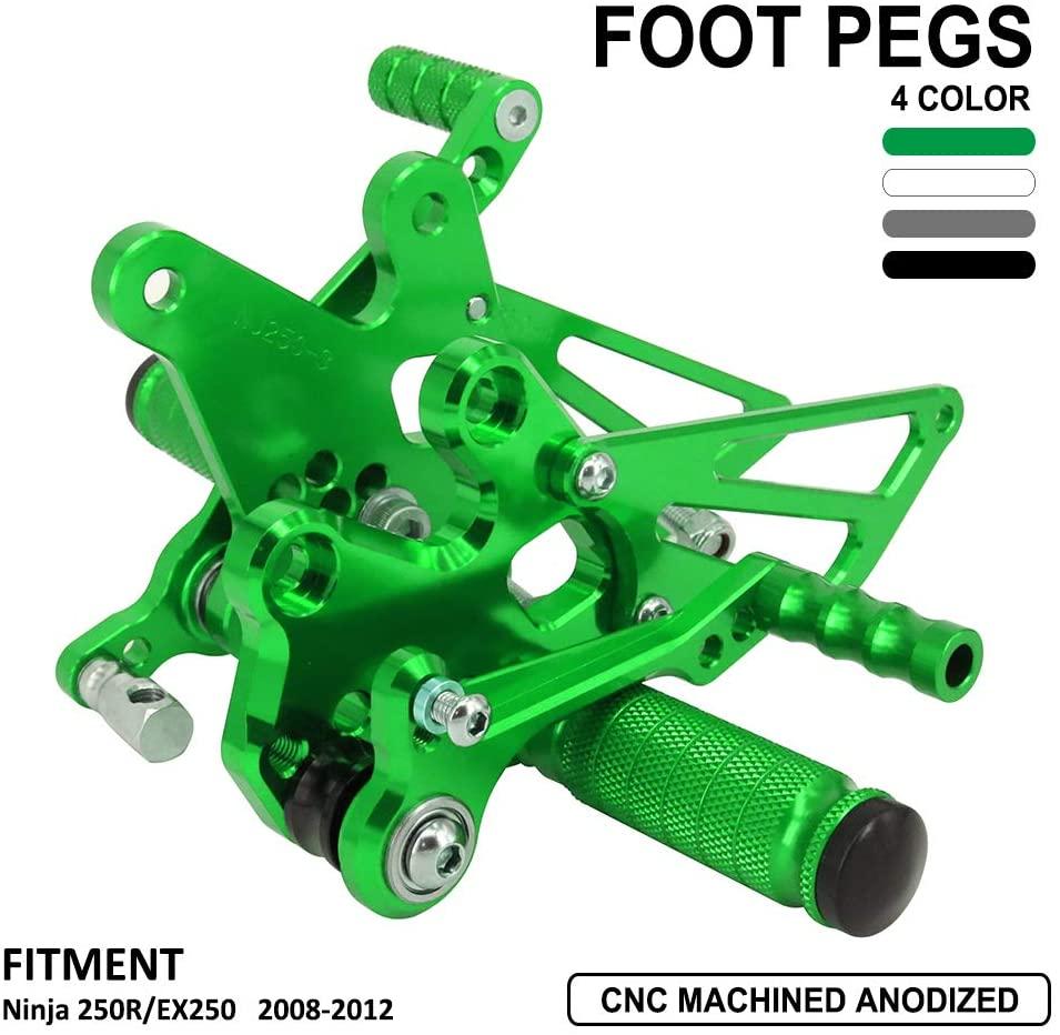 Rearsets Foot pegs Footrests Adjustable Rear Set CNC For Kawasaki Ninja 250R EX250 2008-2012 Motorcycle - Green