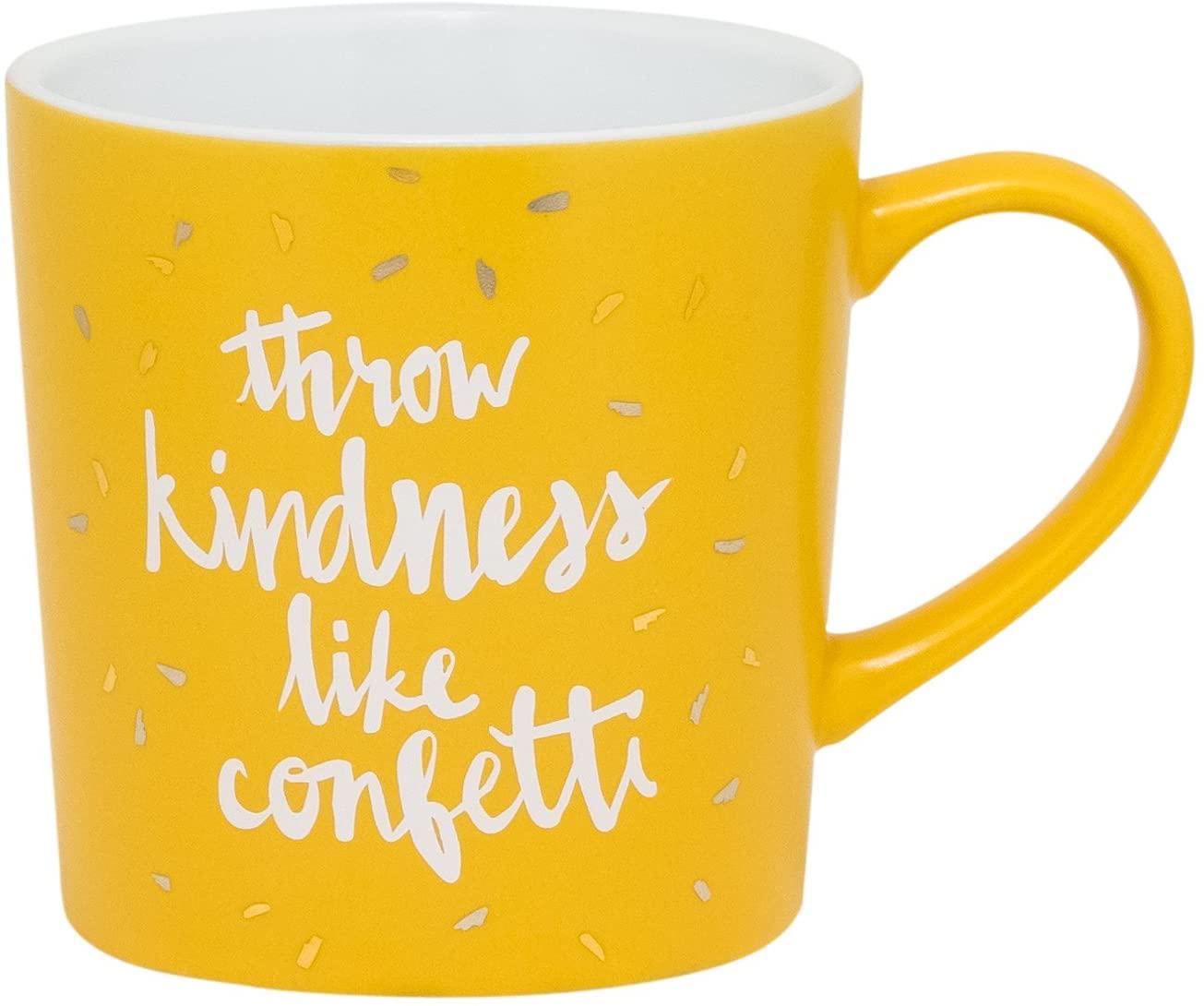 About Face Designs Throw Kindness Like Confetti Ceramic Mug, 18 Ounce, Orange